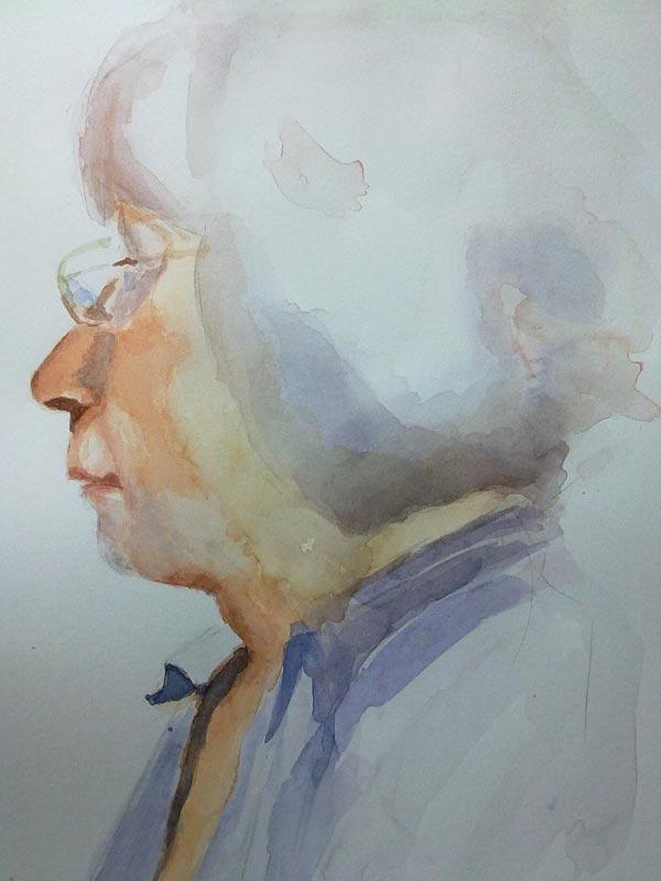 intensificación de colores en acuarela en retrato