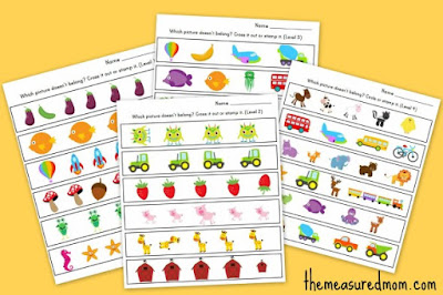 http://www.themeasuredmom.com/which-one-is-different-worksheets-for-preschool-and-kindergarten/