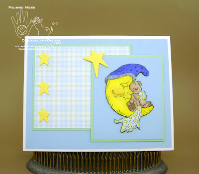 Picture of handmade Sleeping Teddy Bear Baby Card