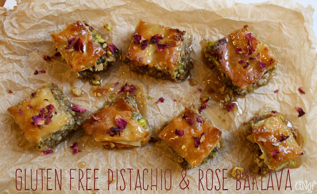 A tray of gluten free pistachio and rose baklava from Anyonita-nibbles.co.uk