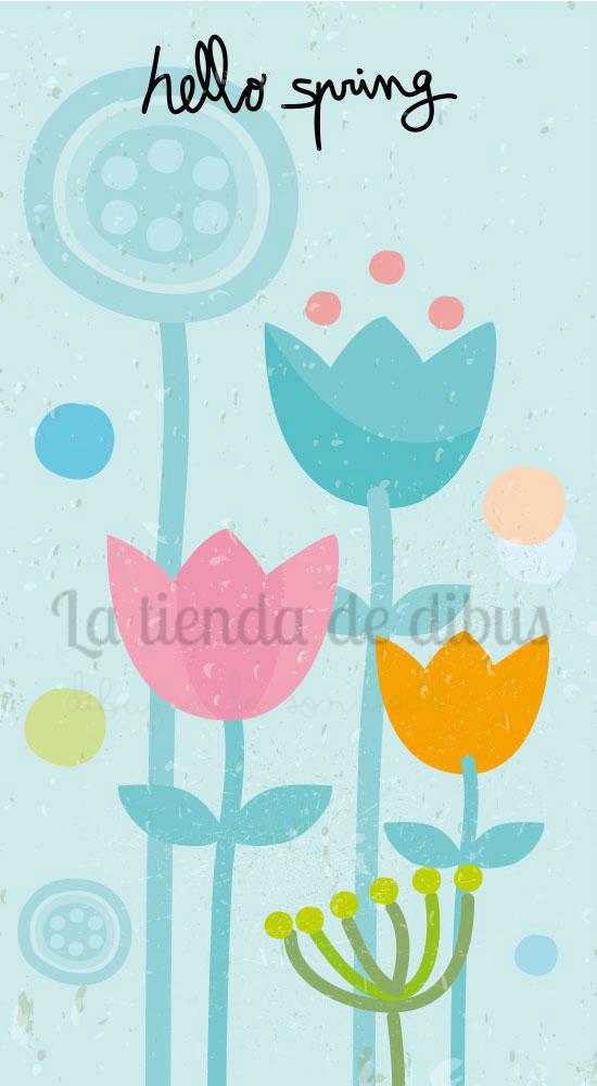 hello spring la tienda de dibus fondo para whatsapp gratis ilustración primavera