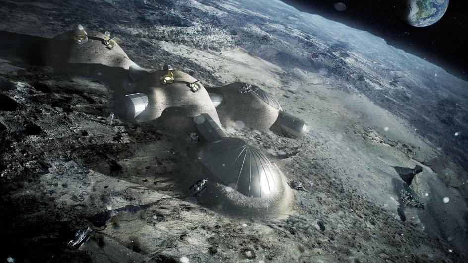 Primer motor de avión fabricado con impresora 3D Esa-Robot-impresora-3d-construir-base-lunar-crater-mosingenieros
