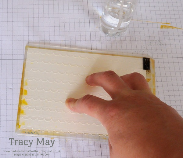 Stampin' Up embossing folder watercolour background technique Tracy May card making ideas