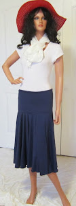 Ladies Modest Navy Blue Full Circle Stretch Knit Jersey Skirt for Work, Dance, church, or Leisure
