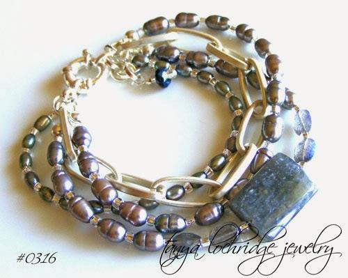 Tanya Lochridge Jewelry Labradorite & Freshwater Pearl Link Bracelet