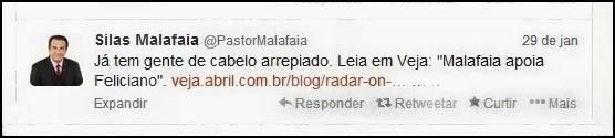 """Já tem gente de cabelo arrepiado. Leia em Veja: """"Malafaia apoia Feliciano"""". http://veja.abril.com.br/blog/radar-on-line/eleicoes-2014/malafaia-apoia-feliciano-para-o-senado/"""
