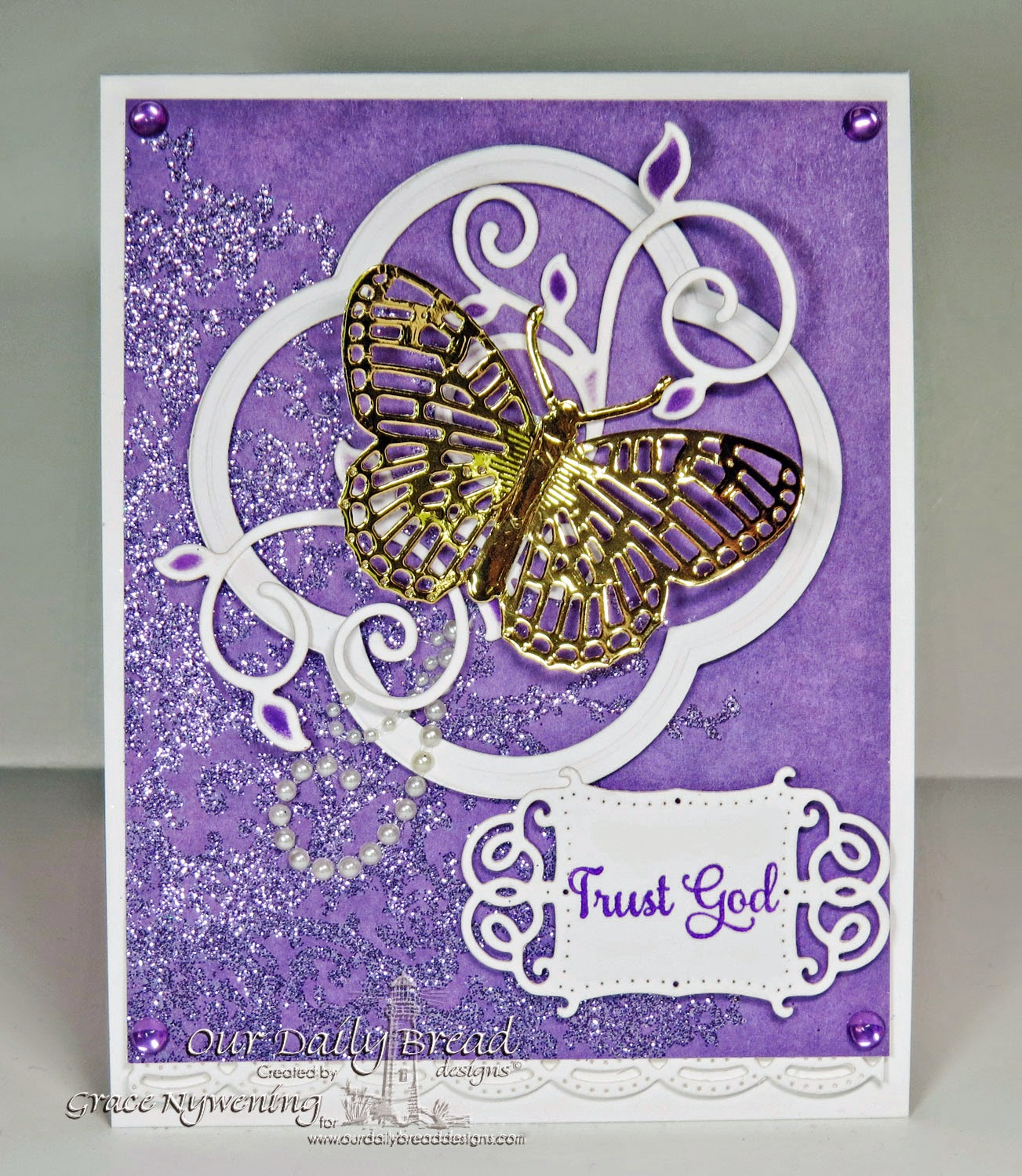 ODBD stamps Belles Vignes, with Fancy Fritillary die, designed by Grace Nywening