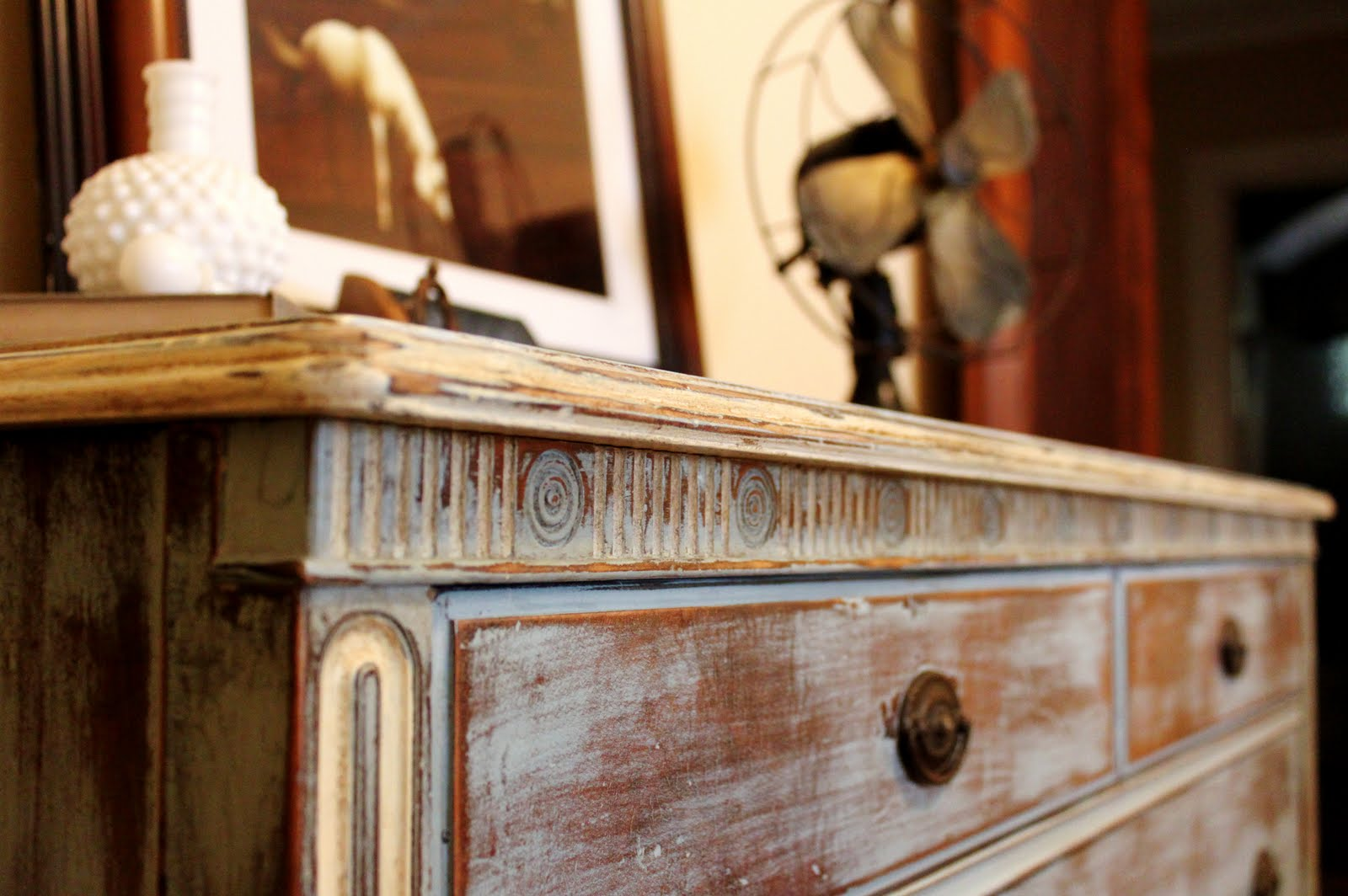 Delightful I Heavily Distressed The Entire Dresser, Then Went Over It With A Clear  Wax, And A Dark Wax On The Details, Imperfections, And Exposed Wood.