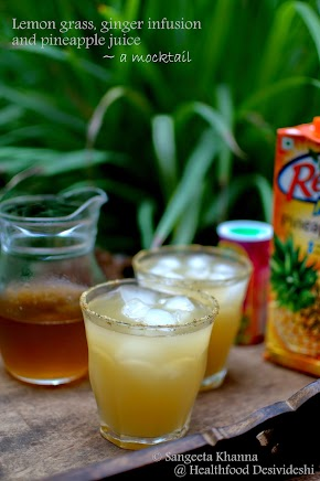 cooling healing mocktails : a lemongrass-ginger infusion and pineapple juice mocktail and another tamarind extract and orange juice mocktail...