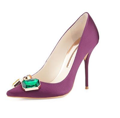 Sophia Webster Aubergine colored high heeled embellished pumps