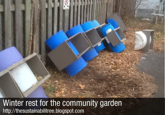 A series of barrels are leaning up against a fence at the uOttawa community garden