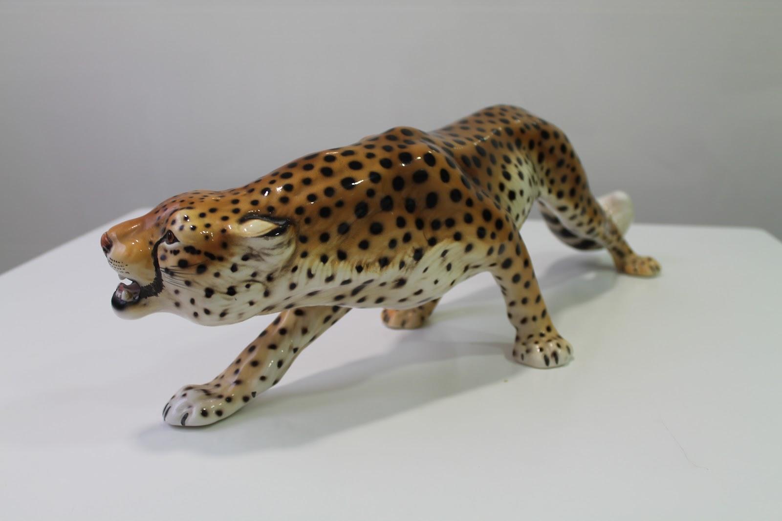 Vintager a espectacular leopardo en porcelana italiana for Porcelana italiana