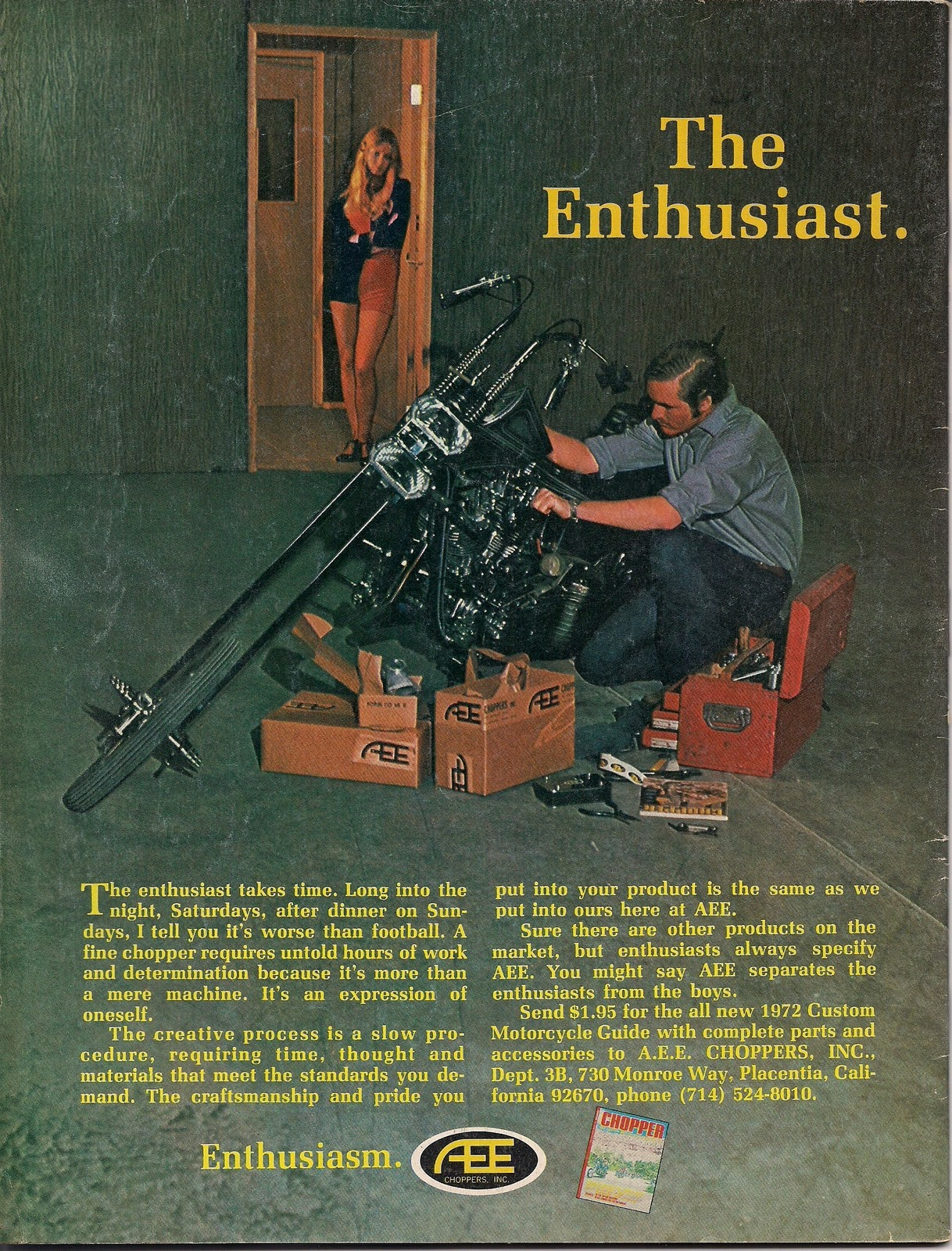 1969 A.E.E. Choppers Motorcycle Chopper Parts Accessories Ad