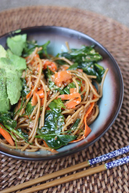 Asian Whole Wheat Noodles and Carrot Ribbons with Pea Shoots and Avocado