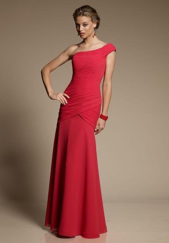 Whiteazalea sheath dresses delicate one shoulder sheath for Sheath chiffon wedding dresses