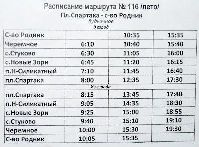 Расписание пригородных автобусов г. Барнаула маршрут 116 на лето 2013