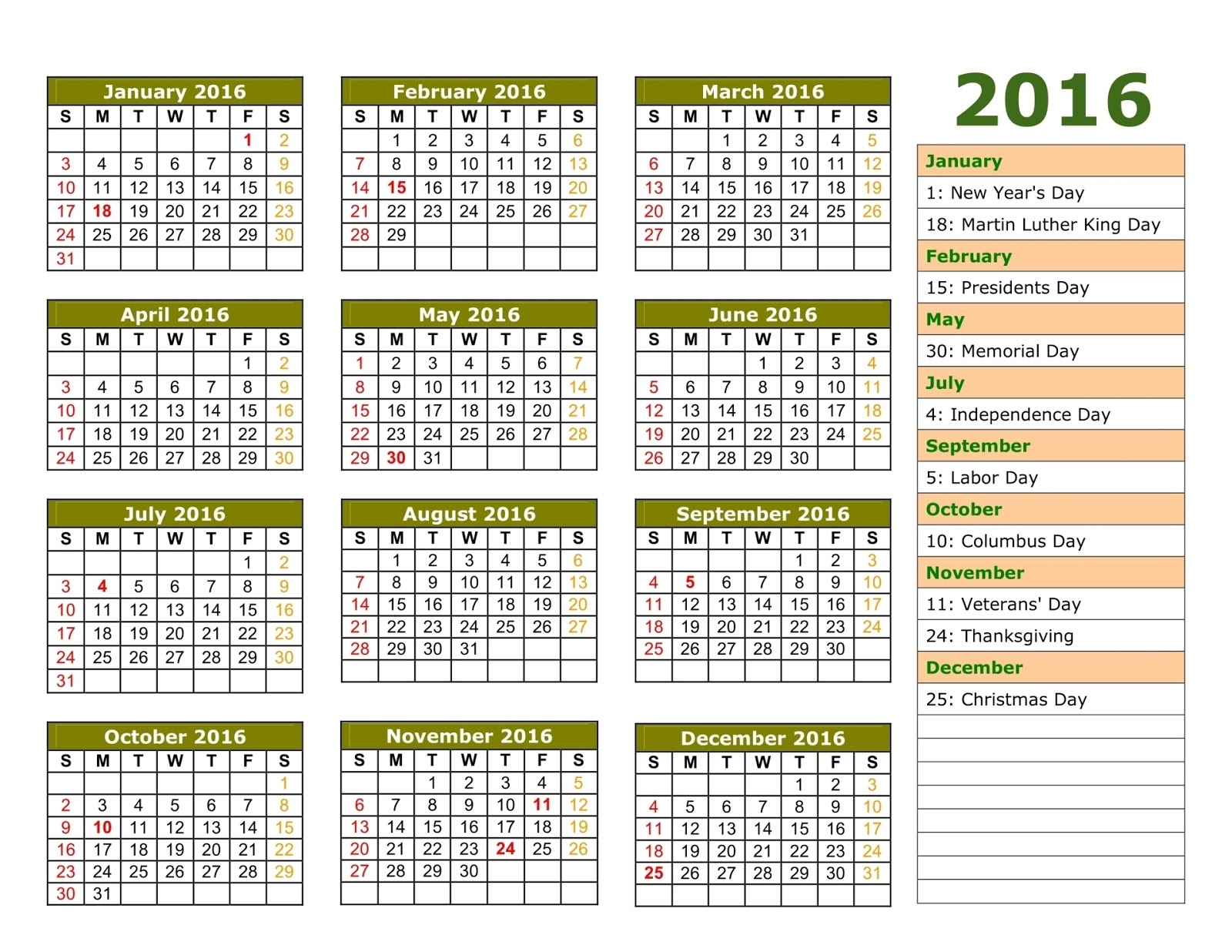 Free]^ Printable Calendar 2016: Printable 2016 Calendar with US ...