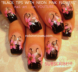 Hot Neon Pink And Black Nails Mint Green Nails With Roses Sky Blue