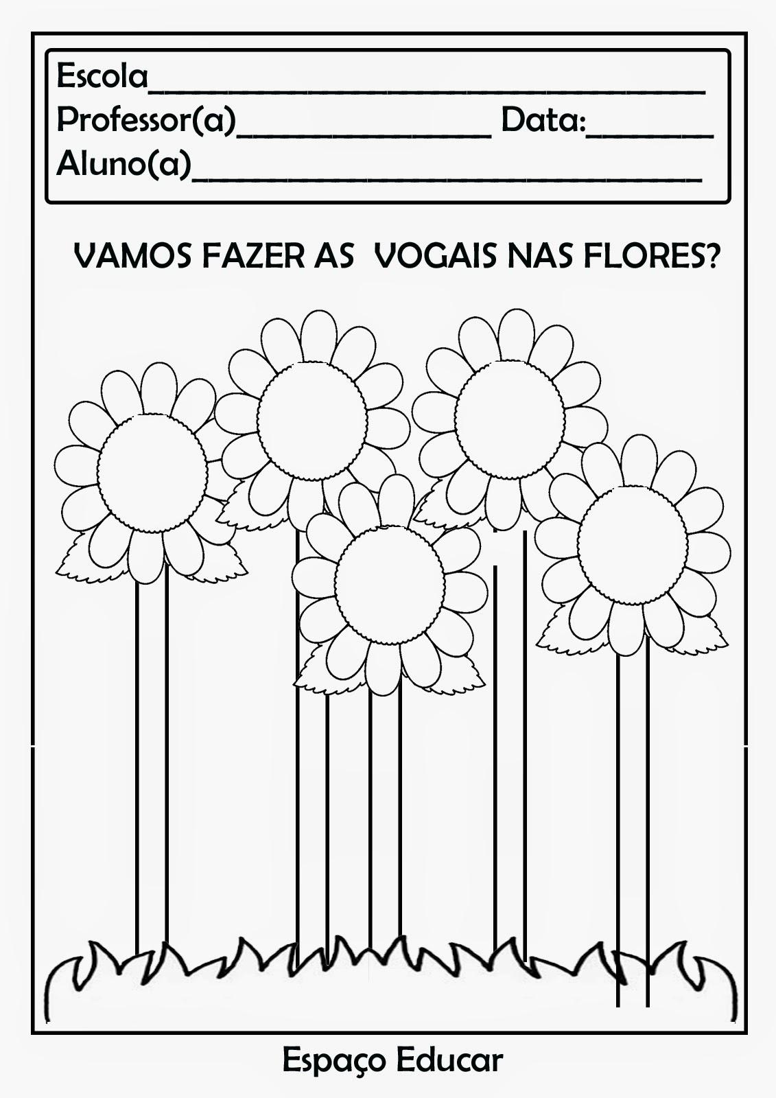 flores no jardim letra:28 Atividades com vogais prontinhas para você imprimir! – ESPAÇO