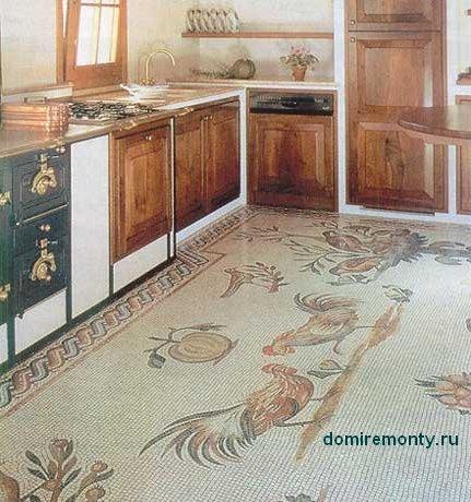 Мозаика лучшее напольное покрытие для пола в кухне