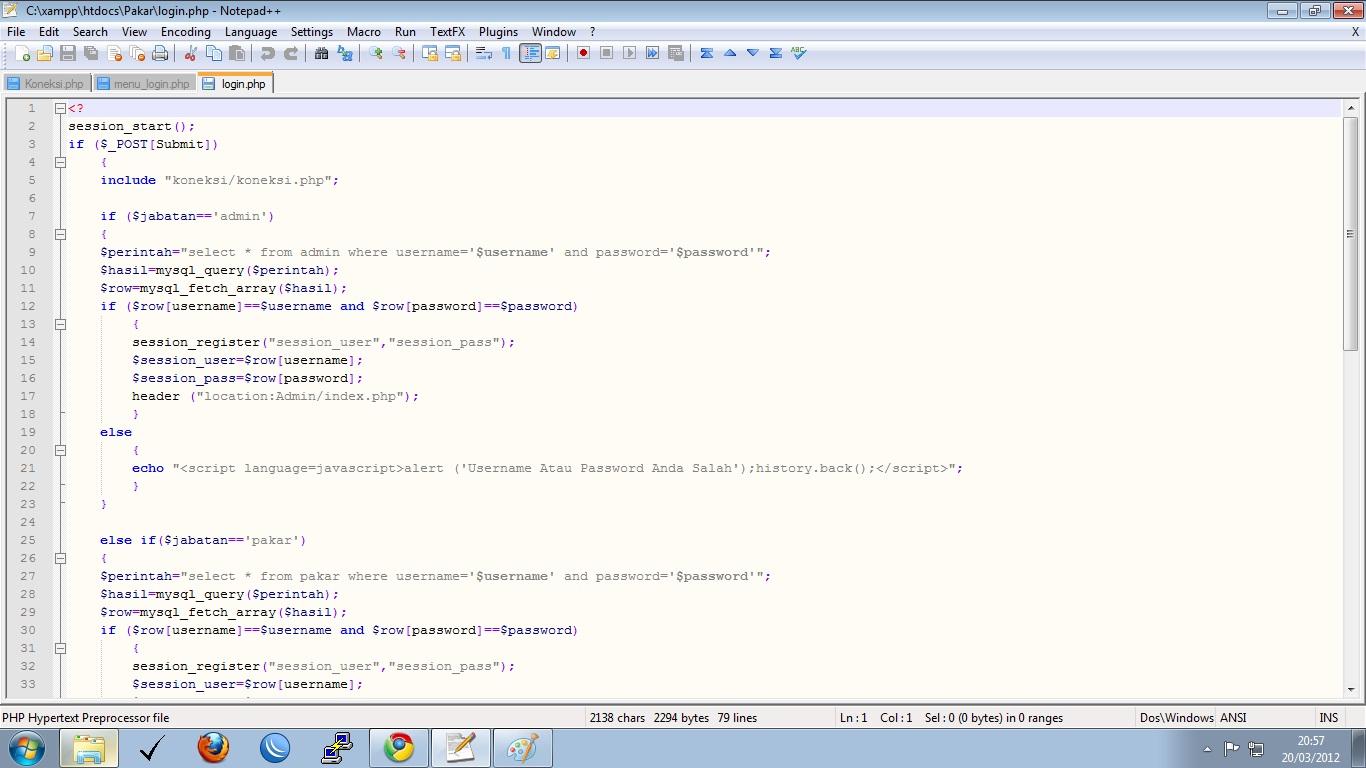 Berikut script kurang lengkap dari menu_login.php buatan