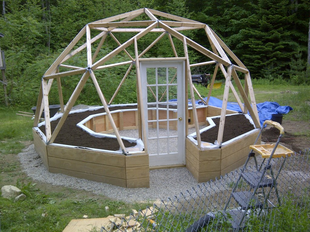 Alex 39 s geodesic dome greenhouse june 2012 for Inground pool greenhouse
