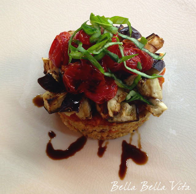 Quinoa Cannellini Bean Cakes w/ Roasted Eggplant, Tomato & Balsamic Vinegar recipe