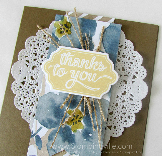 Close-up photo image of card detail and thank you greeting.