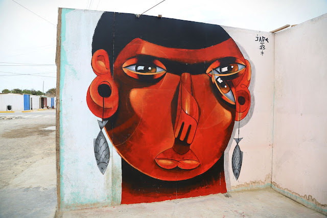 Street Art By Jade For Proyecto Afuera in Pisco, Peru. second wall