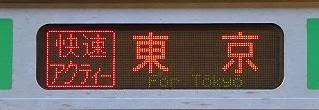 東海道線E231系の側面行先 快速アクティー東京