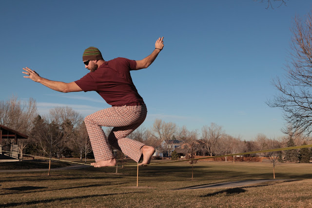 These are perhaps the coolest pair of pants to get to walk across a Gibbon slackline.