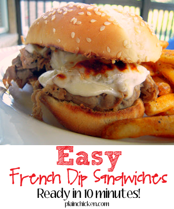 Easy French Dip Sandwiches - deli roast beef, homemade au jus, provolone and hoagie buns - SO good! Ready in 10 minutes. Great weeknight meal!