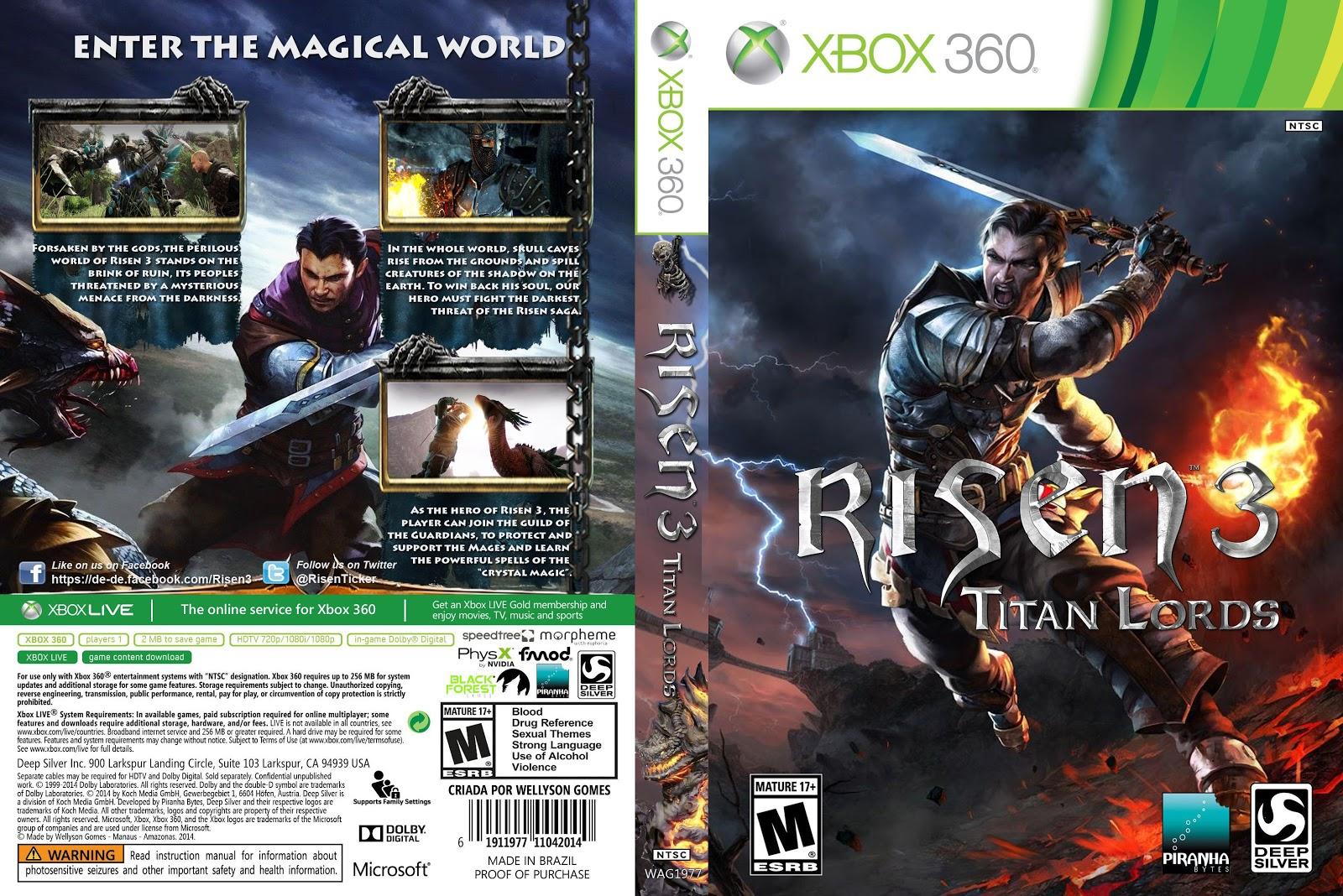 Capa Risen 3 Titan Lords Xbox 360