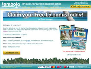 Tombola 5 Pound Free Code 2013 - Redemption