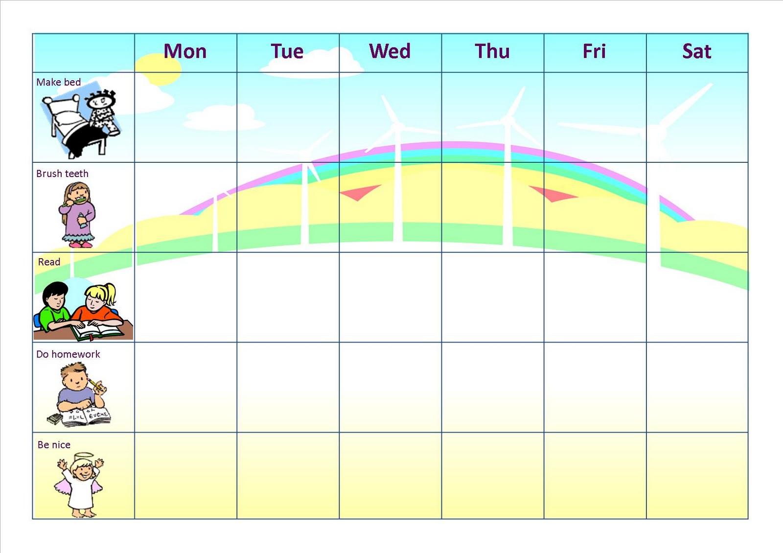 Similiar Homework Chart For A Week Keywords  Blank Reward Chart Template
