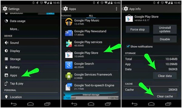 Google Play, Khắc phục các lỗi gặp phải trên Google Play