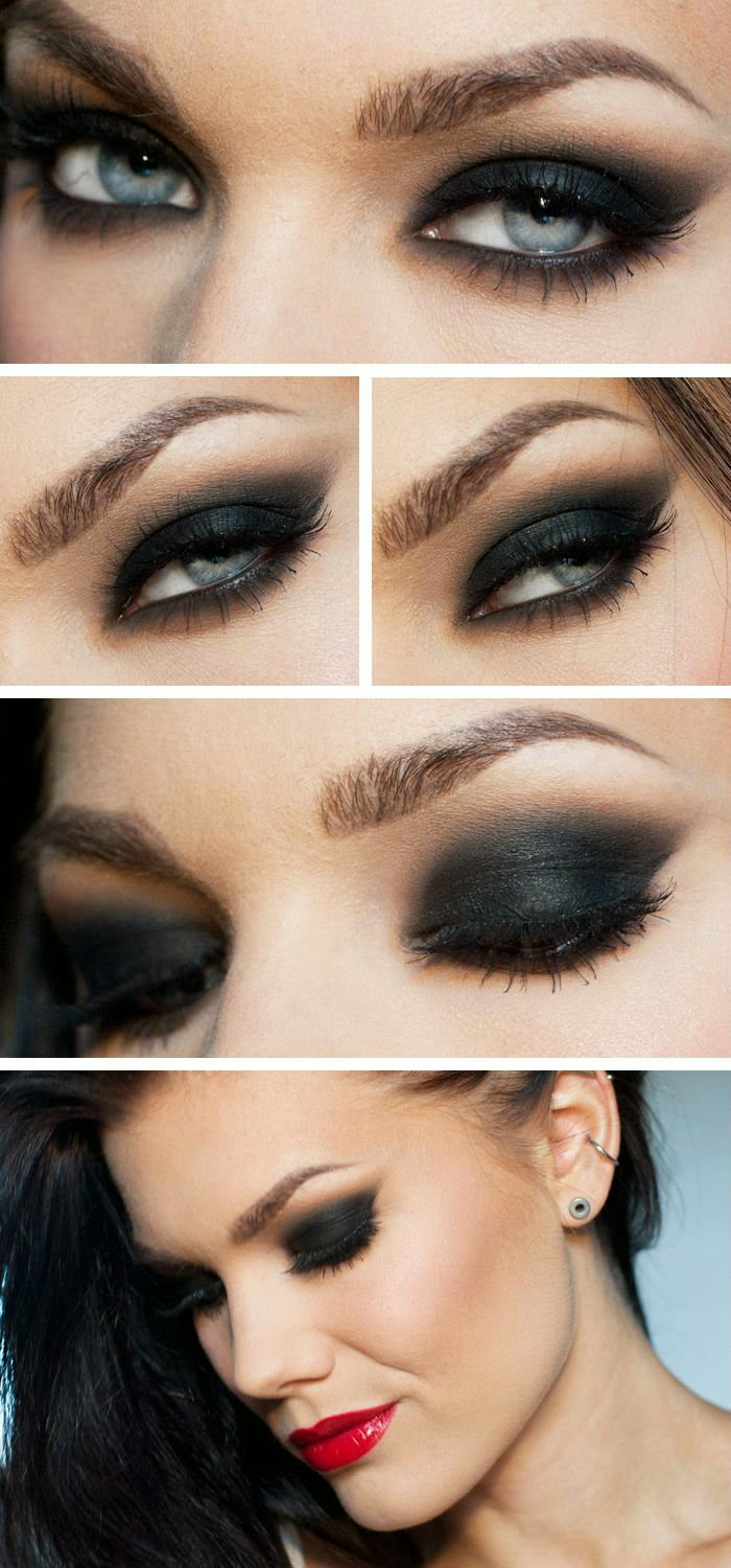 """""""The Smokey Eye"""" -Linda Hallberg - black smokey eye tutorial with bright pillbox red lips - perfect paired with an urban street look or for a glamorous night out...x"""
