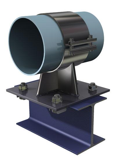 Пример применения кронштейна для монтажа трубопровода с использованием системы балочных зажимов.