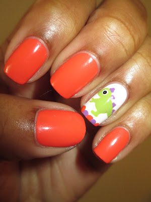 Coral, Purple, Green, Dino, nails, nail art, nail design, mani