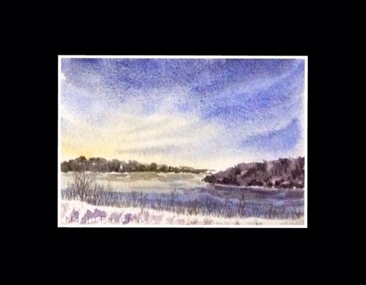water colour painting of a landscape done as a demo work by Manju panchal