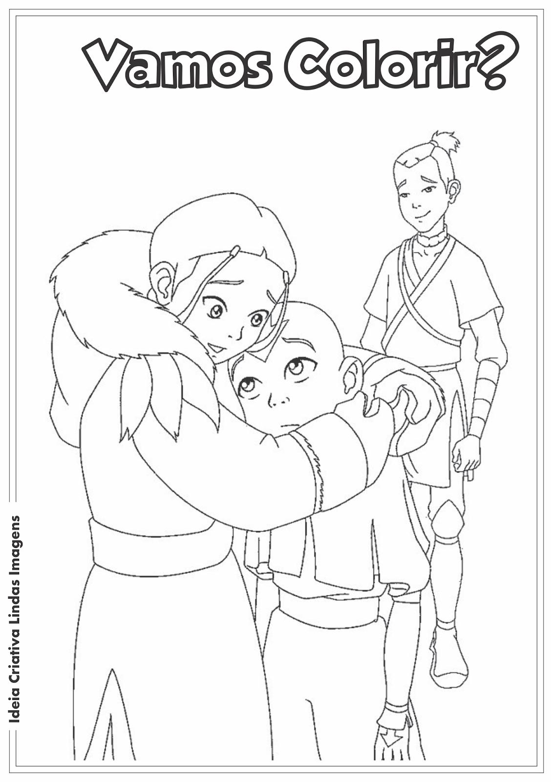 Avatar - Aang, Katara e Sokka desenho para colorir