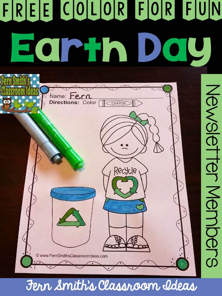Fern Smith's Classroom Ideas Freebie Friday's FREE Color For Fun Earth Day Printable at TeachersPayTeachers.