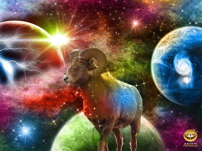Carnero con Planetas y Estrellas - aries