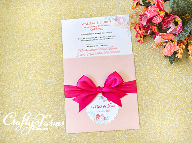 Pink Pocket Wedding Card with Ribbon Bow