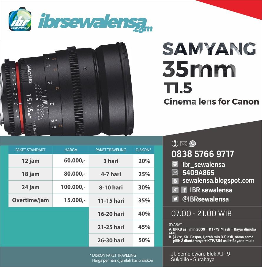 Samyang/Rokinon 35mm T1.5 VDSLR Cinema Lens for Canon Harga Sewa Rental Lensa Kamera
