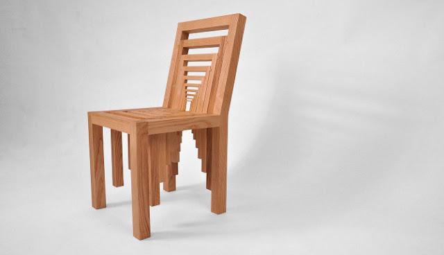 Ilusión optica / silla de madera