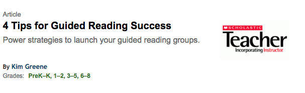Article About Guided Reading (featuring Allison)