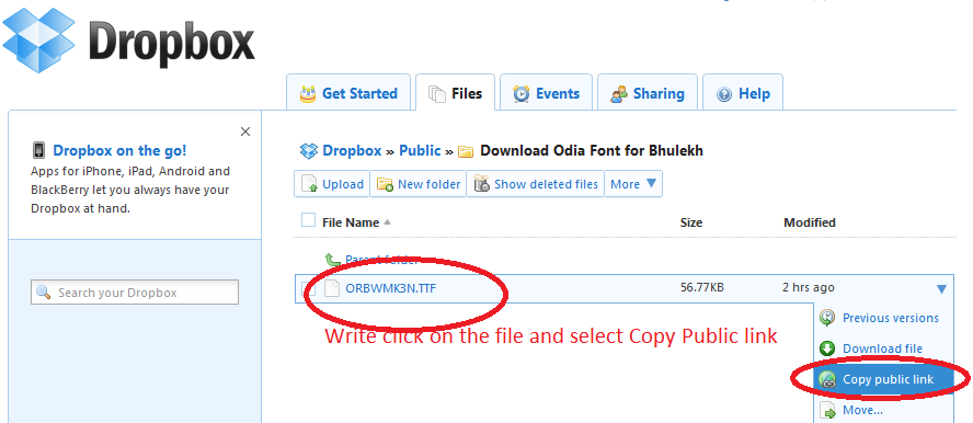 how to publicaly share download dropbox