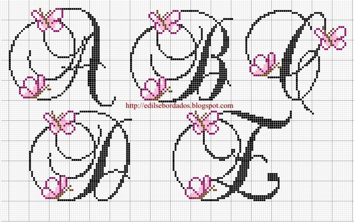 Meu cantinho monograma de borboletas em ponto cruz - Alphabet au point de croix grille gratuite ...