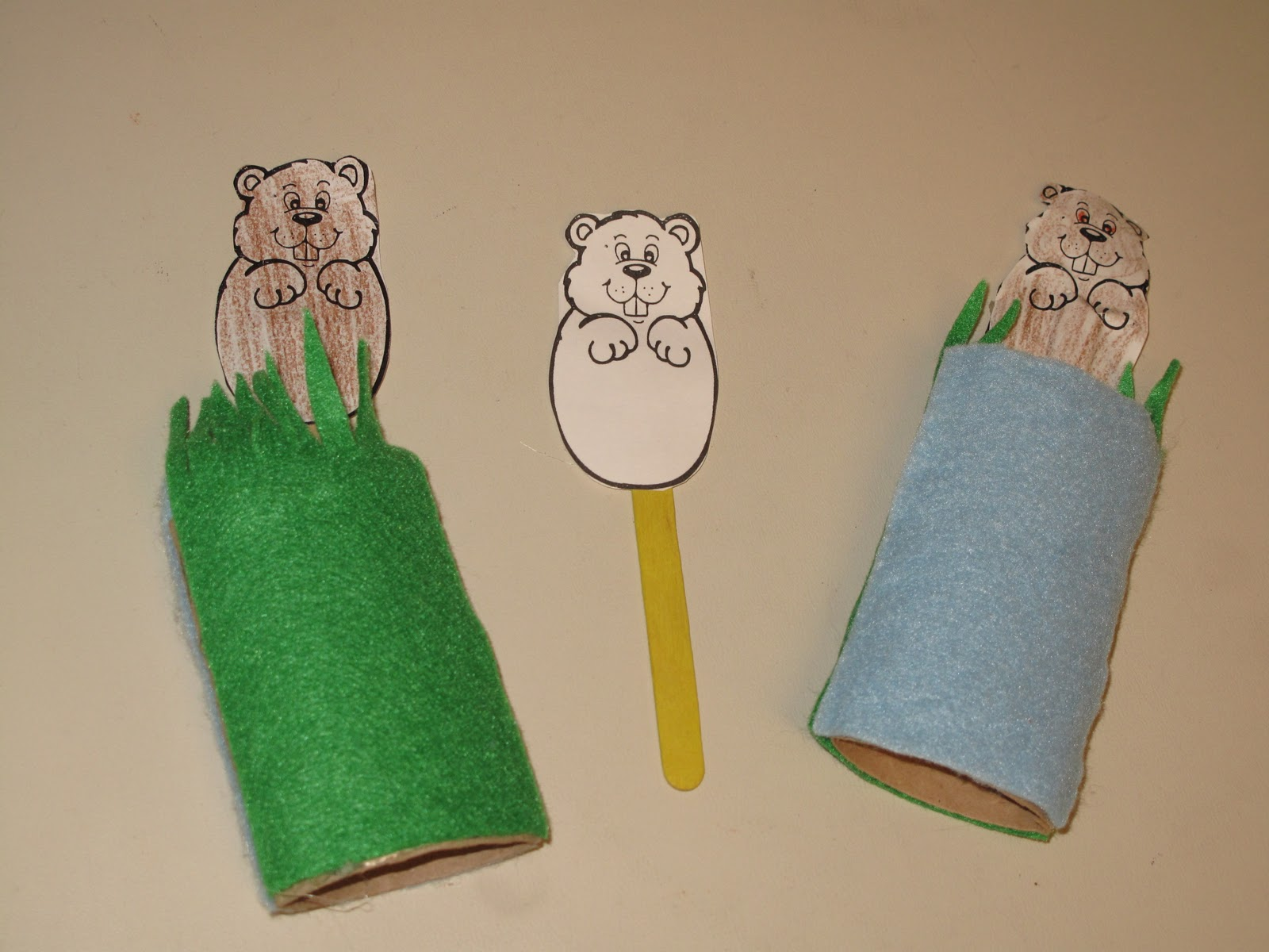There are tons of groundhog crafts on-line but I think my version is ...